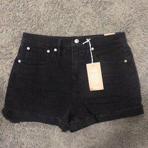 Madewell High-Rise Black Denim Shorts BNWT 28